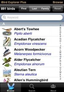 iBird Explorer List Page